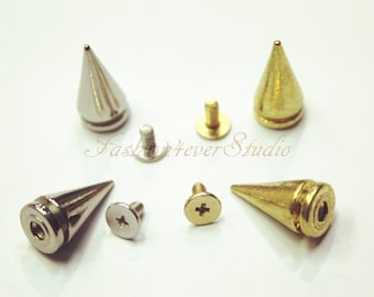 10 sets Silver/Gold Tone Base Metal Screw on Spike, 10mmx19mm Rivets Studs Spikes, Leather Craft Accessories, Craft Supplies