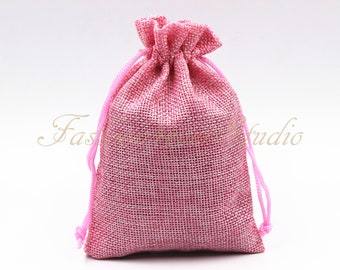 """10pcs Pink Burlap Bags 4x5.25""""/5x7"""", Jewelry Bags, Gift Bags, Burlap Favor Bags, Jute Bags, Party Favor Bags, Wedding Gift Bags"""