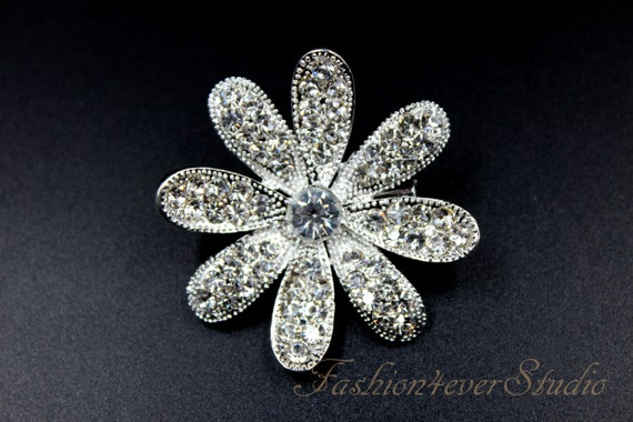 Wedding Accessories Wedding Jewelry Silver Brooch Crystal Brooch with Pin On The Back 1.5 inches Rhinestone Silver Brooch