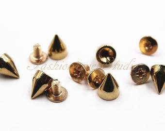 10 sets Gold Tone Base Metal Screw on Spike, 6mmx8mm Rivets Studs Spikes, Leather Craft Accessories, Craft Supplies
