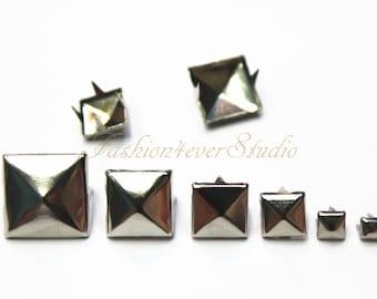 100pcs Silver Studs, 3mm 5mm 7mm 9mm 11mm 14mm Metal Studs, Rivets Studs Spikes, Leather Craft Accessories, Craft Supplies