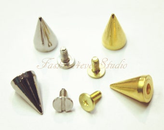 10 sets Silver/Gold Tone Base Metal Screw on Spike, 9mmx15mm Rivets Studs Spikes, Leather Craft Accessories, Craft Supplies
