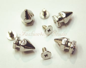 10 sets Silver Tone Base Metal Screw on Spike, 8mmx13mm Rivets Studs Spikes, Leather Craft Accessories, Craft Supplies