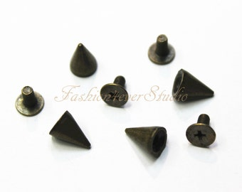 10 sets Brass Tone Base Metal Screw on Spike, 6mmx9mm Rivets Studs Spikes, Leather Craft Accessories, Craft Supplies