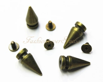 10 sets Brass Tone Base Metal Screw on Spike, 8mmx19mm Rivets Studs Spikes, Leather Craft Accessories, Craft Supplies