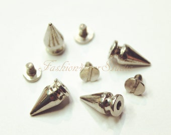 10 sets Silver Tone Base Metal Screw on Spike, 7mmx14mm Rivets Studs Spikes, Leather Craft Accessories, Craft Supplies