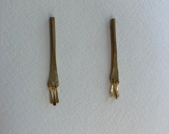 Hammered Brass Stick Earrings with Fringe - Short