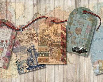 Digital Download, Vintage Design, Tags, Travel