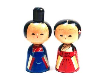 Vintage Kokeshi doll - couple object - Made in Japan 1960s - Japanese royal couple doll
