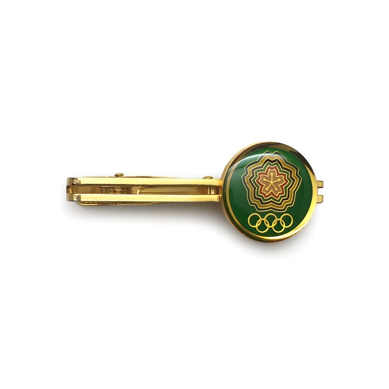 JSDF Physical Trainning School  a school for Olympic Games Japanese company tie clip 1980s Japan vintage green