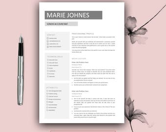 teacher resume template cover letter for ms word modern cv etsy