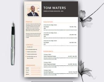 resume template best template resume template word etsy