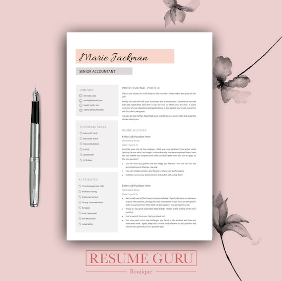 Professional Resume Template & Cover Letter Cv Professional | Etsy