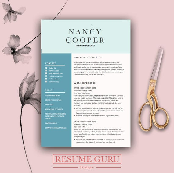 Teacher CV Professional Resume Template Cover Letter for | Etsy