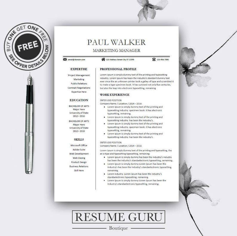 Teacher Resume Template Cv Template For Ms Word Professional Resume Modern Resume Design Resume Instant Download Buy One Get One Free