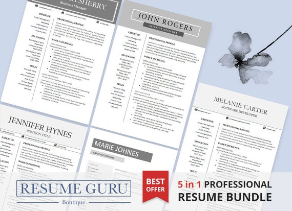 Resume Template Bundle Cover Letter For Ms Word Modern Cv Etsy