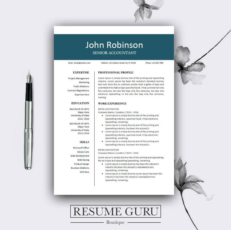 Modern CV Design Professional Resume Template Cover Letter
