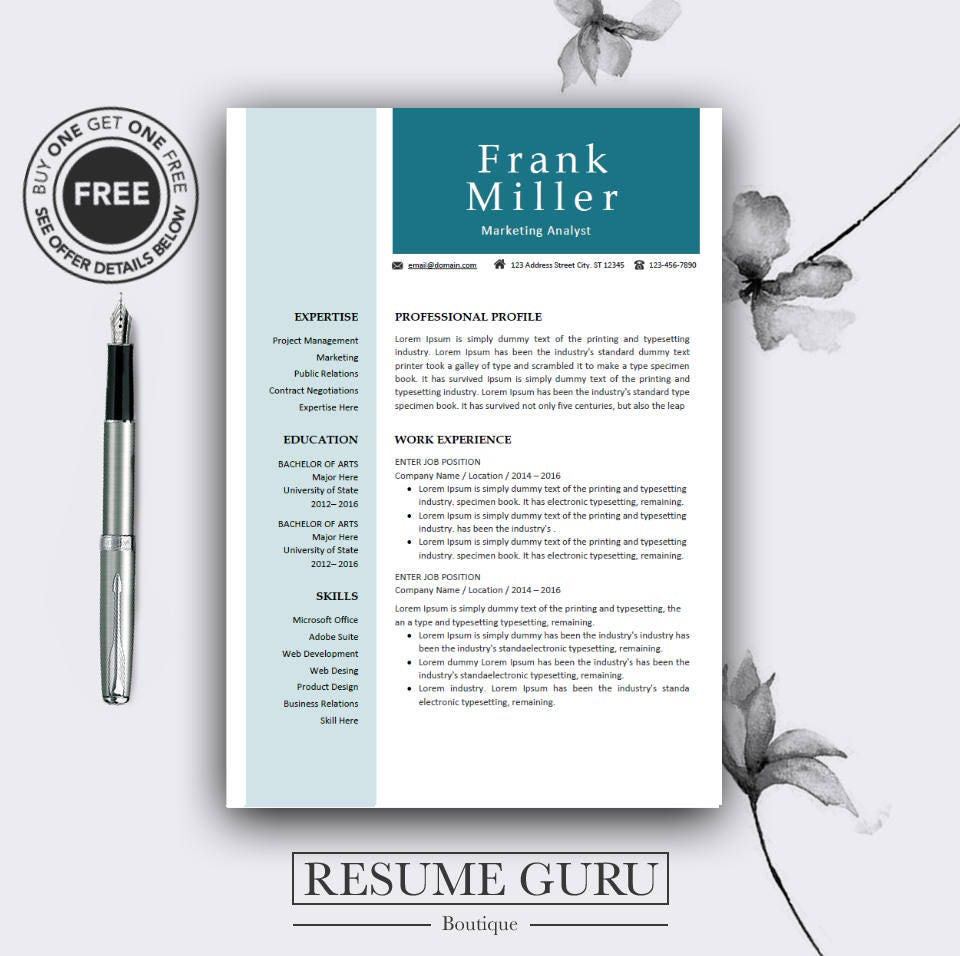 teacher resume template  professional resume template for
