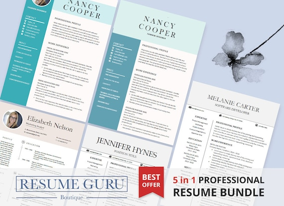 professional cv template bundle cv package with cover etsy