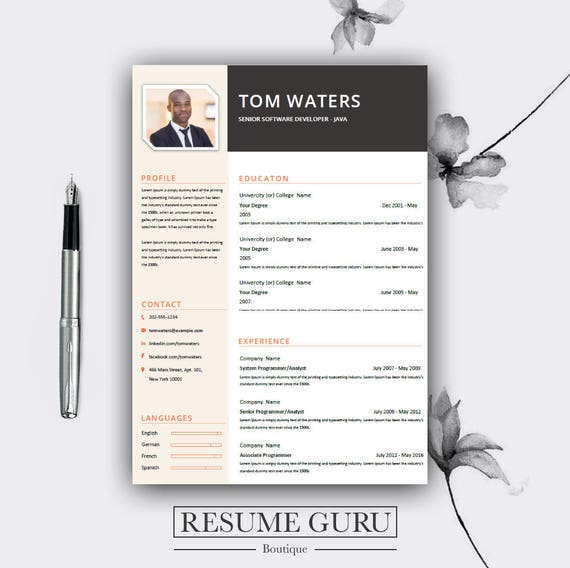 Professional Creative Resume Template Cover Letter for MS Etsy