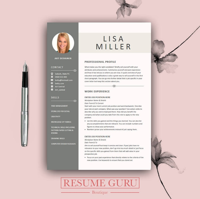 Teacher Resume Template Cover Letter For MS Word Modern CV