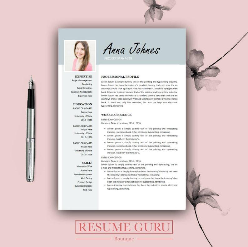Teacher Resume Professional Resume Template Cover Letter | Etsy