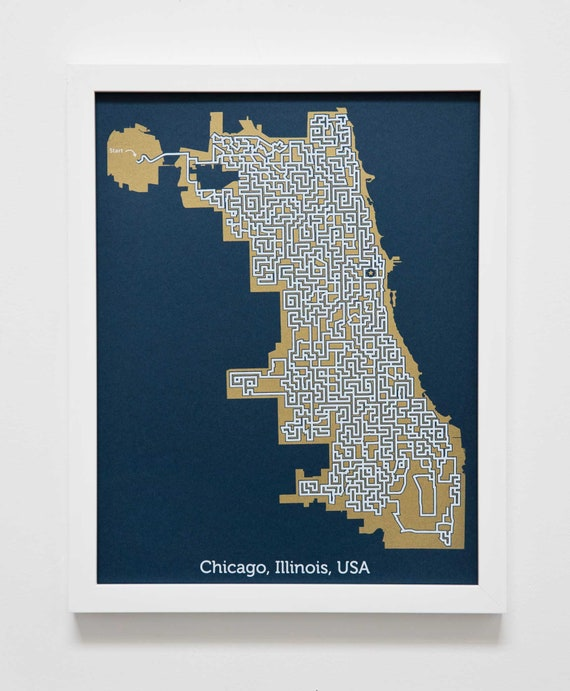 Gold Chicago Map Maze Art Print Wander The Streets Of Etsy