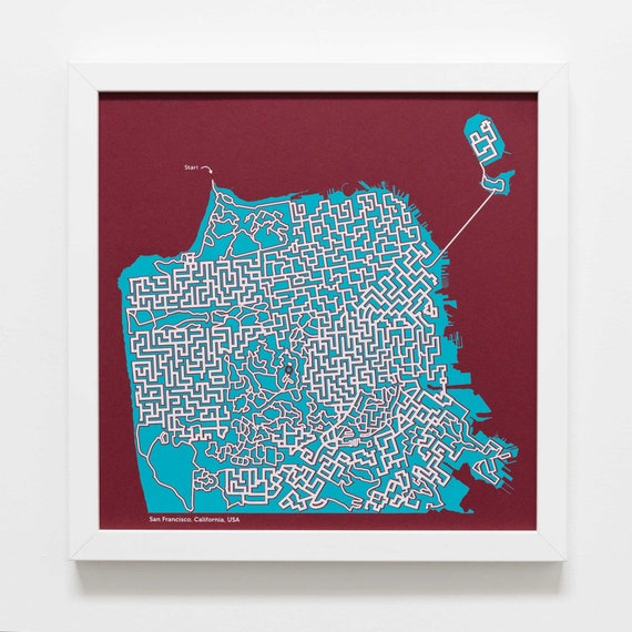 Handmade San Francisco Map Maze Print Wander The Streets Of Etsy