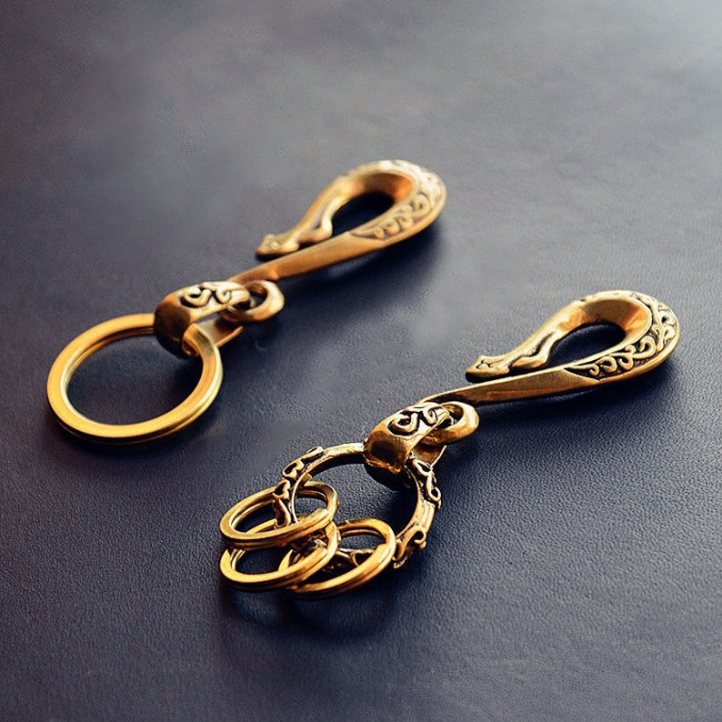 Collecteable Vintage Fob Solid Brass shackle key chain ring hook wallet clip