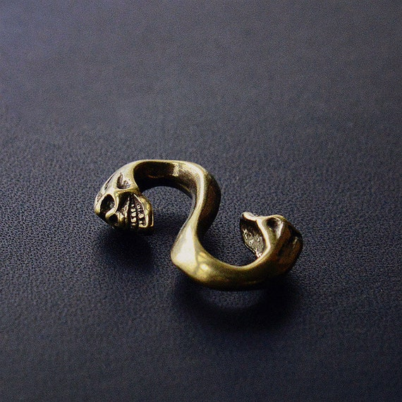 Handmade Solid Brass S Shape  S Hook Clasp  Connector Clasp  S Connector Skull S Hook