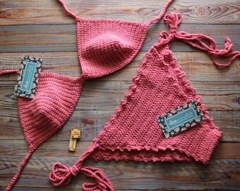 Handmade Crochet bikini set, pink crochet bikini set