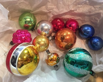 collection of vintage christmas tree ornaments decorations glass baubles 1960s and 1950s