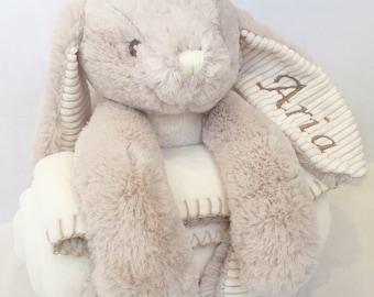 Personalised Rabbit and Blanket / Newborn Baby Gift Set / Unisex