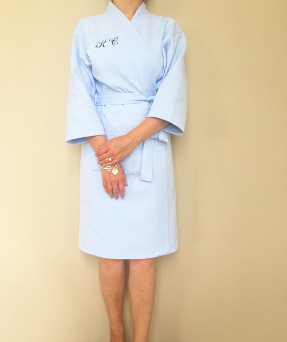 1cb141f964 Knee Length Personalised Robe Blue Cotton Waffle Weave