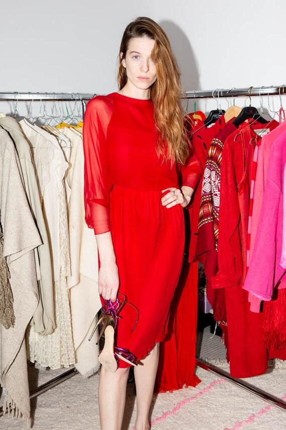 HALSTON Vintage 70s Iconic Red silk chiffon dress - image 6