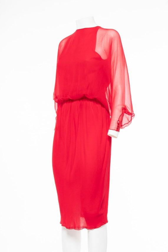 HALSTON Vintage 70s Iconic Red silk chiffon dress - image 2