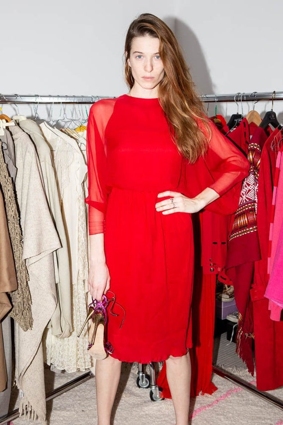 HALSTON Vintage 70s Iconic Red silk chiffon dress