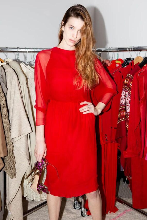HALSTON Vintage 70s Iconic Red silk chiffon dress - image 5