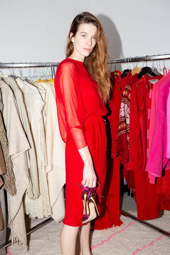 HALSTON Vintage 70s Iconic Red silk chiffon dress - image 9