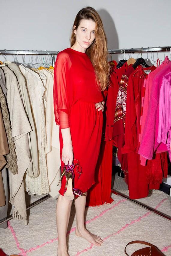 HALSTON Vintage 70s Iconic Red silk chiffon dress - image 7