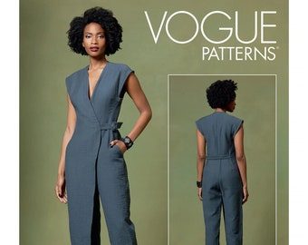 Vogue Sewing Pattern for Womens Jumpsuit, Mock Wrap Jumpsuit Pattern, Semi Fitted Jumpsuit, Vogue 1645, Size XS-M and L-XL, Uncut FF