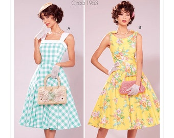 Sewing Pattern for Women's Dress, Vintage Style Dress with Petticoat, Fit and Flare Dress, Size 6-14 and 14-22, McCalls 7599, Uncut FF