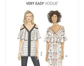 Easy Beginner Sewing Pattern for Womens Tops Dress and Pants Cold Shoulder Blouse Vogue 9238 Size 6 8 10 12 14 Uncut and FF