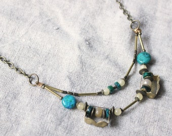 Bronze necklace bib ethnic bohemian necklace Chrysocolla Jade • • • • • • jewelry brass handcrafted layering boho Bohemian • • • Tribal