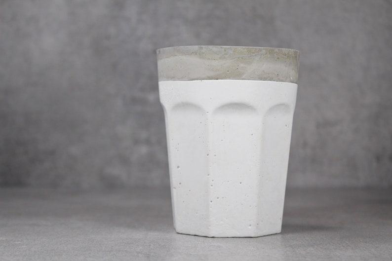Scandinavian style Cement succulent planter Gery and white concrete planter Double color cup concrete pot Concrete cactus planter