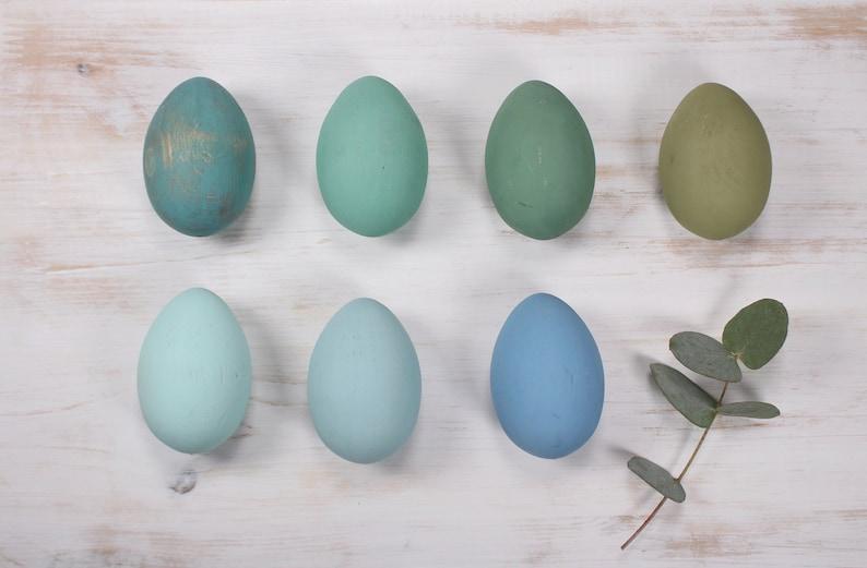 Blau Grün Ostereier Set Von 7 Holz Eier Ostern Dekor Etsy