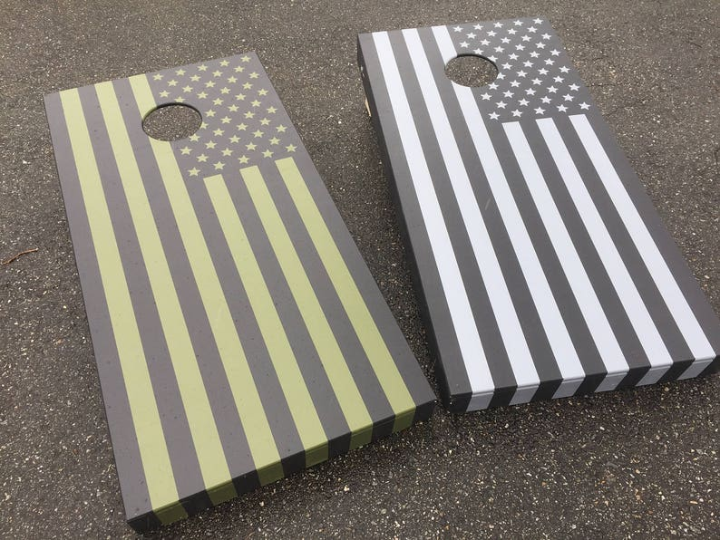 American Flag Bag Toss Game Camo Colors American Flag Cornhole Boards Military Cornhole Hand Painted Cornhole Camouflage Cornhole