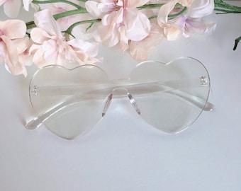 6bae8951b3d Heart transparent no frame glasses kawaii cute vintage harajuku goth