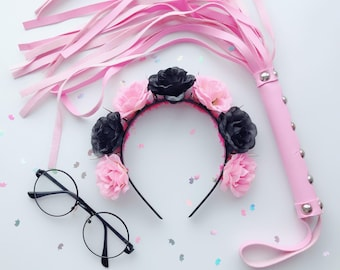 Pink & black pastel goth flower crown with spikes