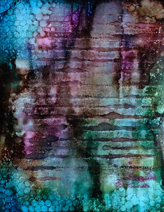 """Original Alcohol Ink Abstract Painting: """"Corrosion of Beauty"""" (11"""" X 14"""")"""